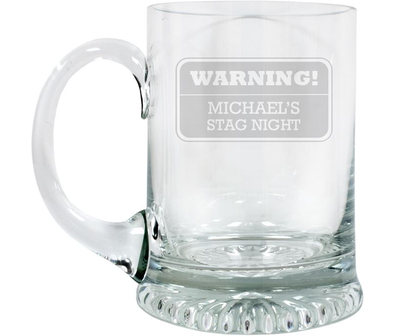 "Warning Stag Night Personalised 3/4pt Lead Crystal Star Base Tankard 13cm (5.25"")"