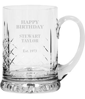"Happy Birthday Personalised Cut Crystal 1pt Tankard 14cm (5.5"")"