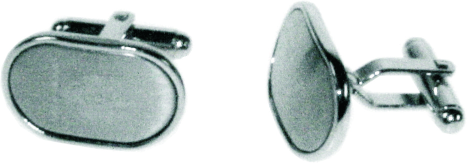Satin Oval Cufflinks in Snap Hinged Box