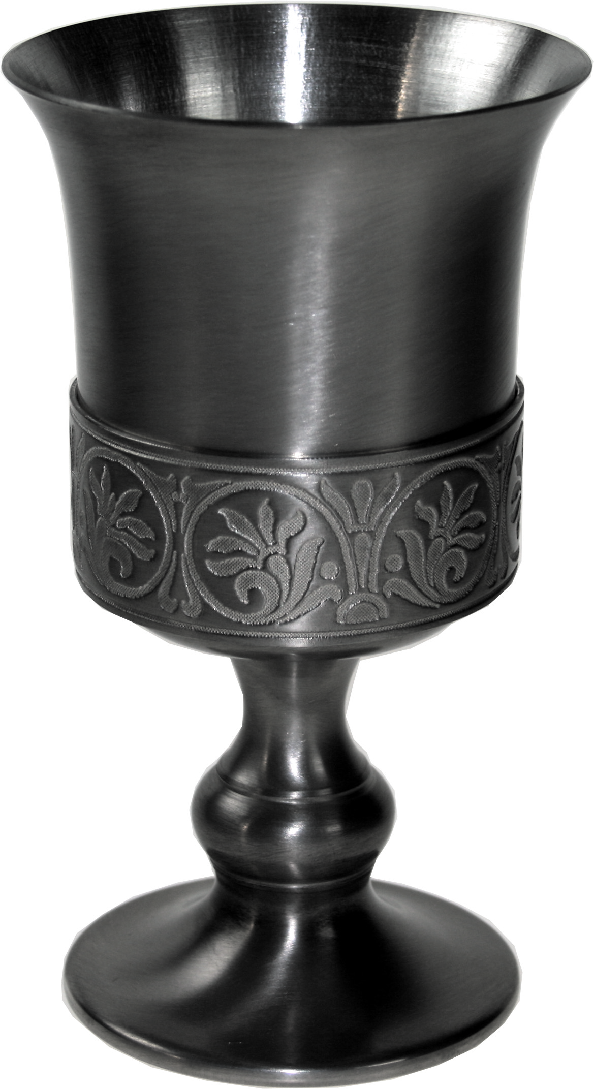 "Pewter Goblet with Medieval Band Detail 15cm (6"")"