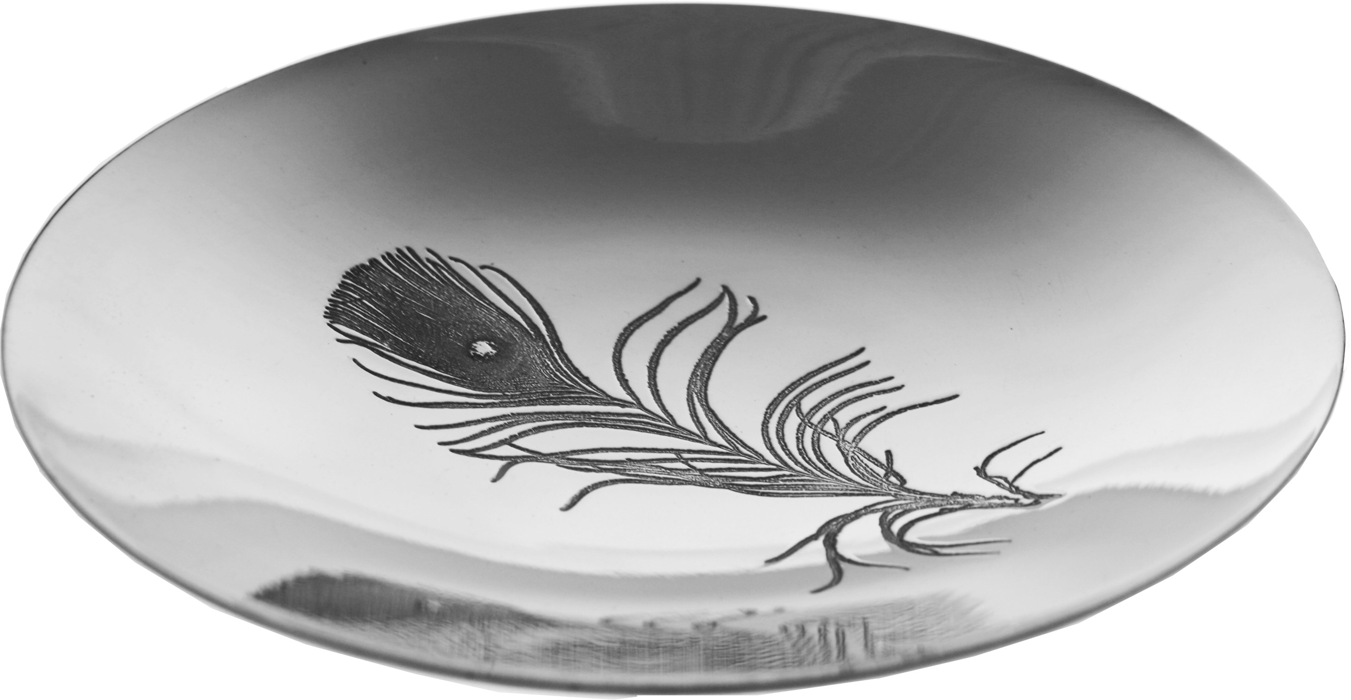 "Peacock Pattern Shallow Pewter Bowl 20.5cm (8"")"