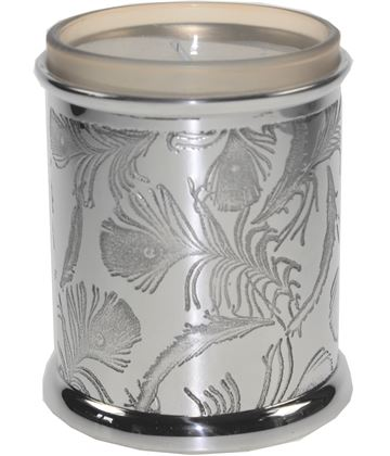 "Pewter Peacock Candle Votive and Candle 9cm (3.5"")"