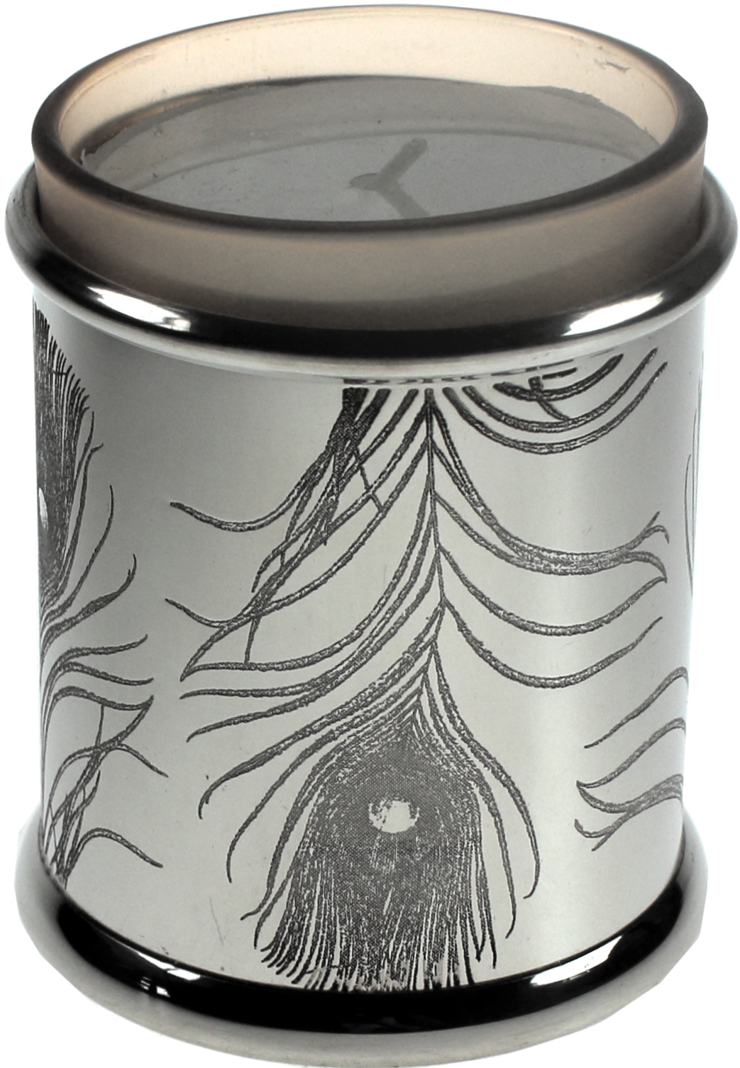 "Pewter Peacock Inspired Candle Votive and Candle 9cm (3.5"")"