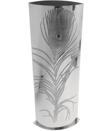 "Pewter Bud Vase with Peacock Feather Design 30cm (11.75"")"