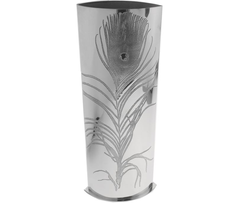 Pewter Bud Vase With Peacock Feather Design 30cm 1175