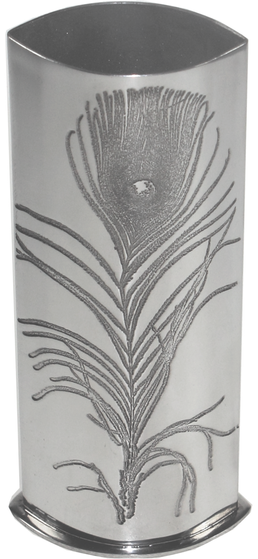 "Pewter Bud Vase with Peacock Feather Design 16cm (6.25"")"