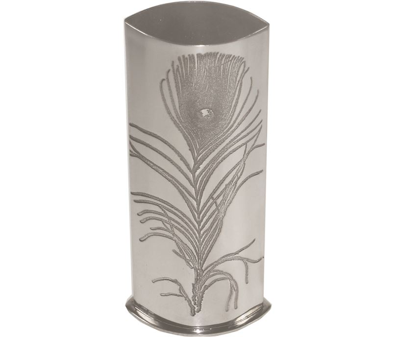 """Pewter Bud Vase with Peacock Feather Design 16cm (6.25"""")"""