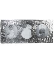 """Silver Pewter Triple Photo Frame with Hammered Detail 11cm (4.25"""")"""