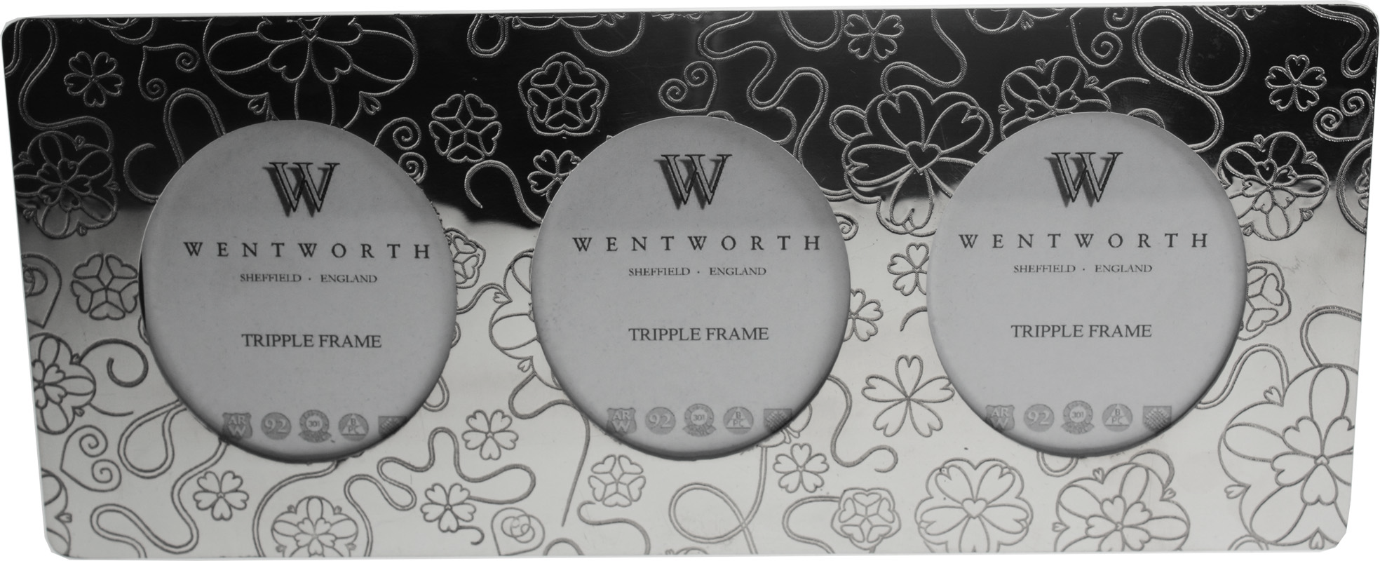 """Silver Pewter Triple Photo Frame with Rose Detail 11cm (4.25"""")"""
