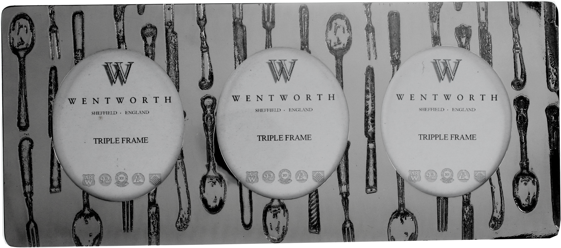"""Silver Pewter Triple Photo Frame with Cutlery Detail 11cm (4.25"""")"""