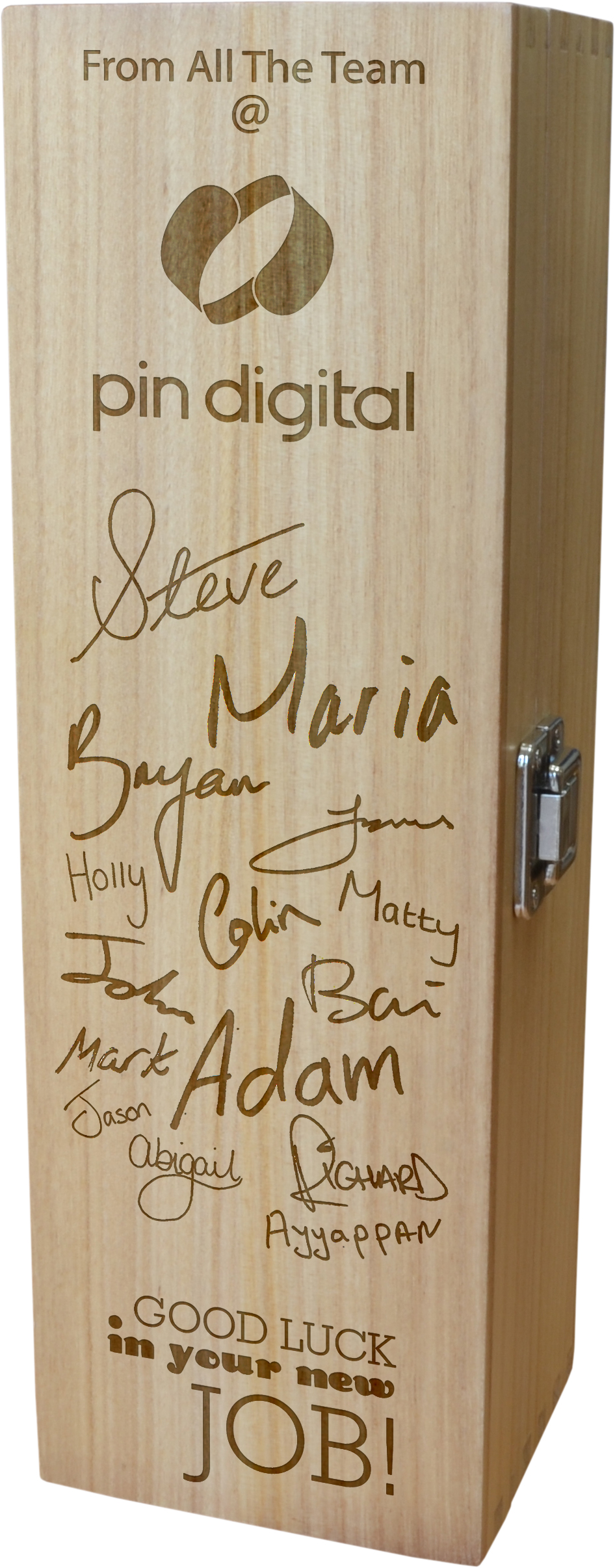 "Bespoke Good Luck Personalised Wooden Wine Box - 35cm (13.75"")"