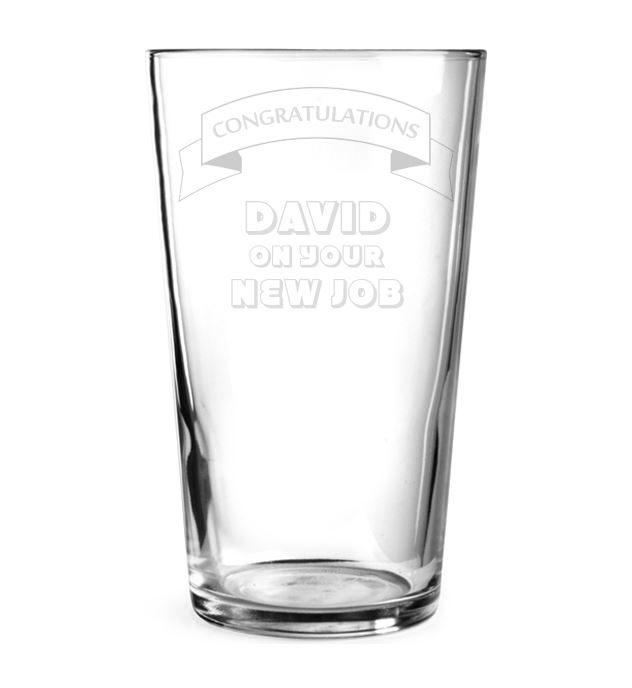 "Congratulations New Job Ribbon Design Personalised Pint Glass 15cm (6"")"