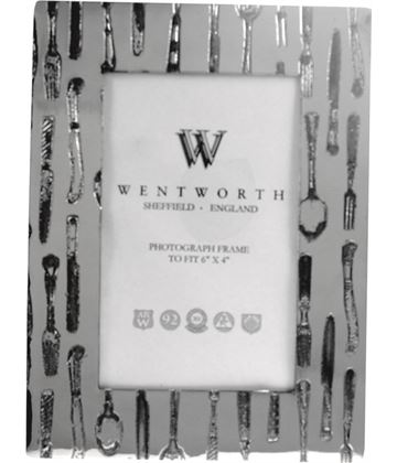 "Silver Pewter Photo Frame with Cutlery Detail 20.5cm (8"")"