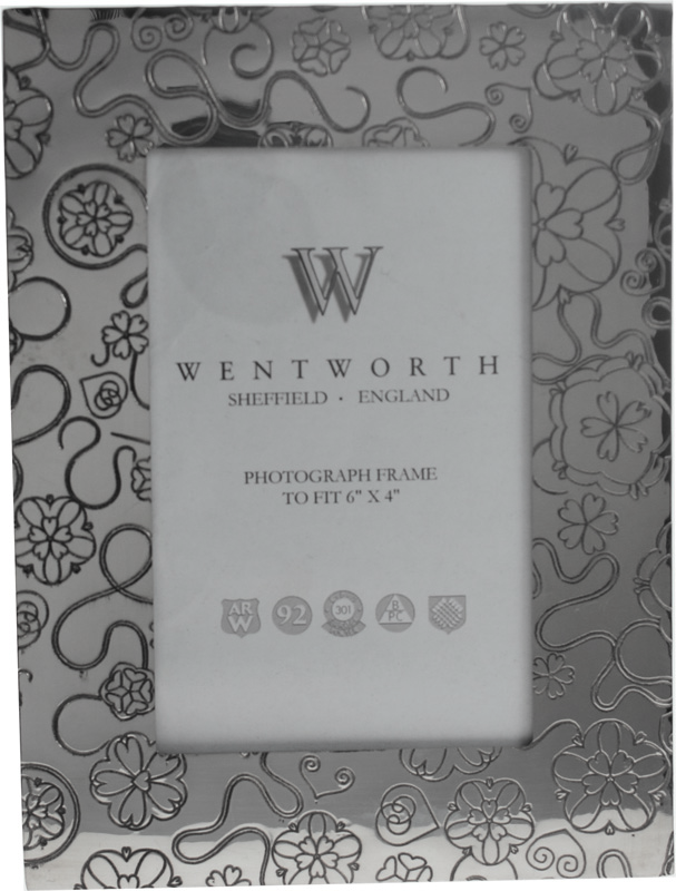 "Silver Pewter Photo Frame with Rose Detail 20.5cm (8"")"