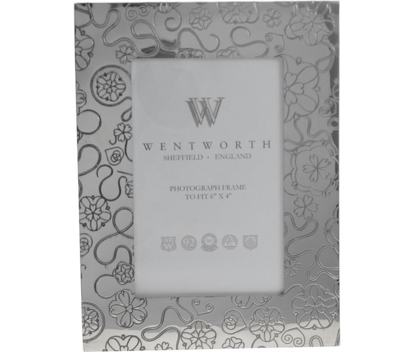 """Silver Pewter Photo Frame with Rose Detail 20.5cm (8"""")"""