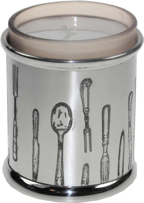 "Pewter Cutlery Candle Votive and Candle 9cm (3.5"")"