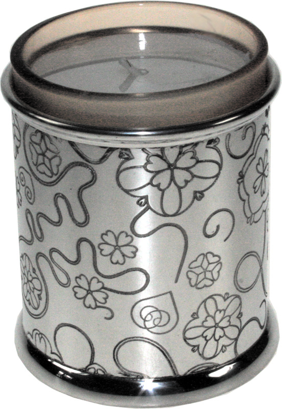 "Pewter Rose Candle Votive and Candle 9cm (3.5"")"