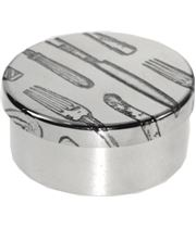 "Cutlery Pattern Round Trinket Box 5cm (2"")"
