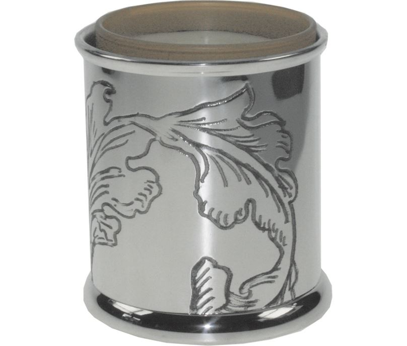 "Pewter Acanthus Candle Votive and Candle 9cm (3.5"")"
