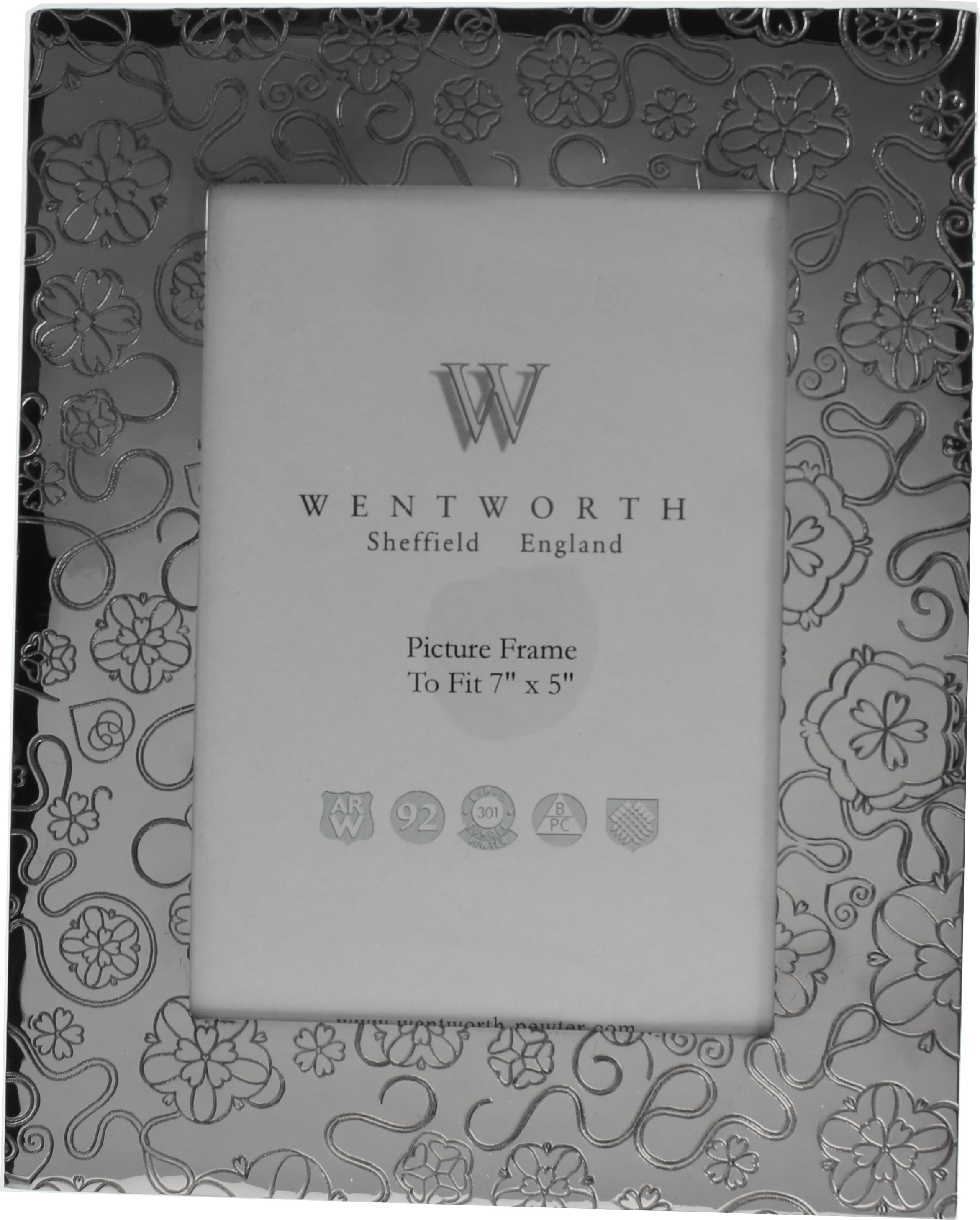 "Silver Pewter Photo Frame with Rose Detail 24.5cm (9.5"")"