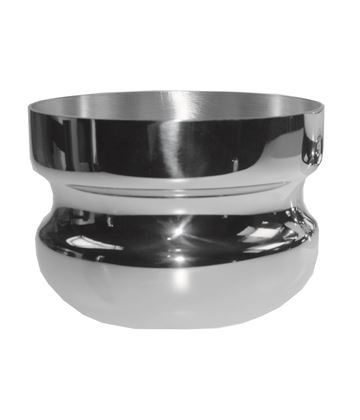 "Silver Bowl Wide Base & Mouth with Pinched Middle Groove 17cm (6.75"")"