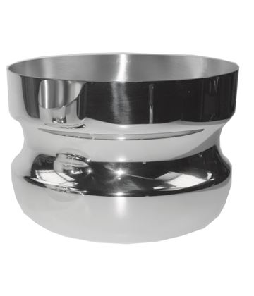 "Silver Bowl Wide Base & Mouth with Pinched Middle Groove 16cm (6.25"")"
