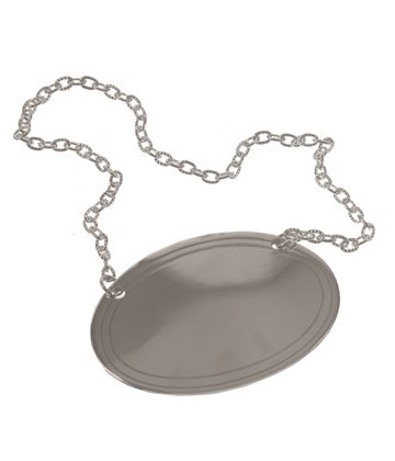 Plain Oval Decanter Label with Chain