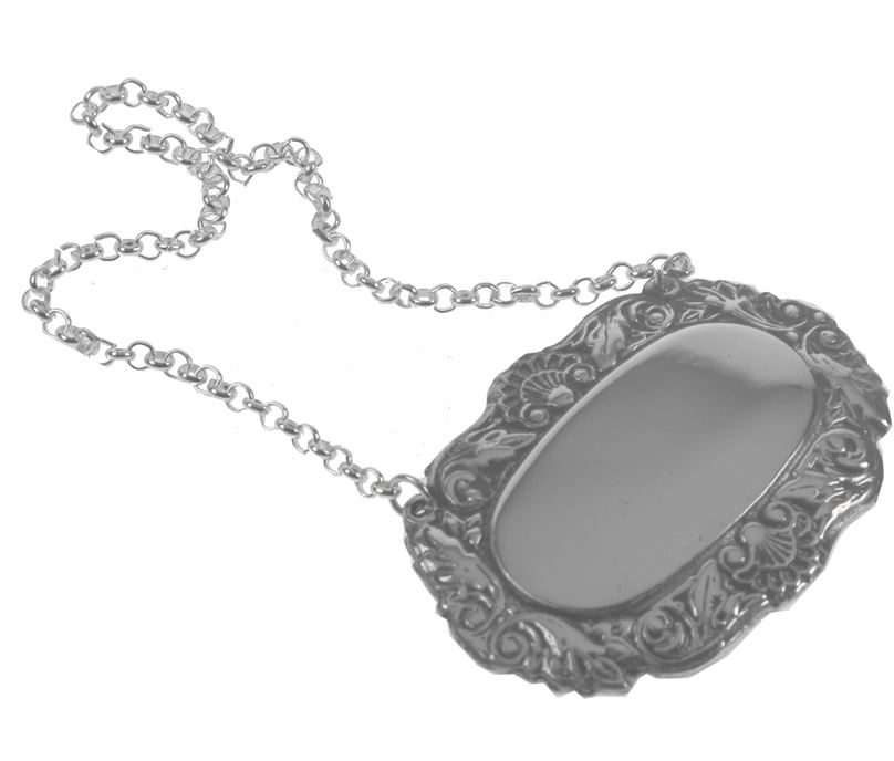 Shell Oval Decanter Label with Patterned Rim and Chain