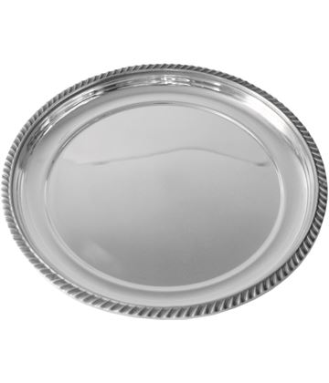 "Round Spun Pewter Salver with Gadroon Band Edging 24cm (9.5"")"