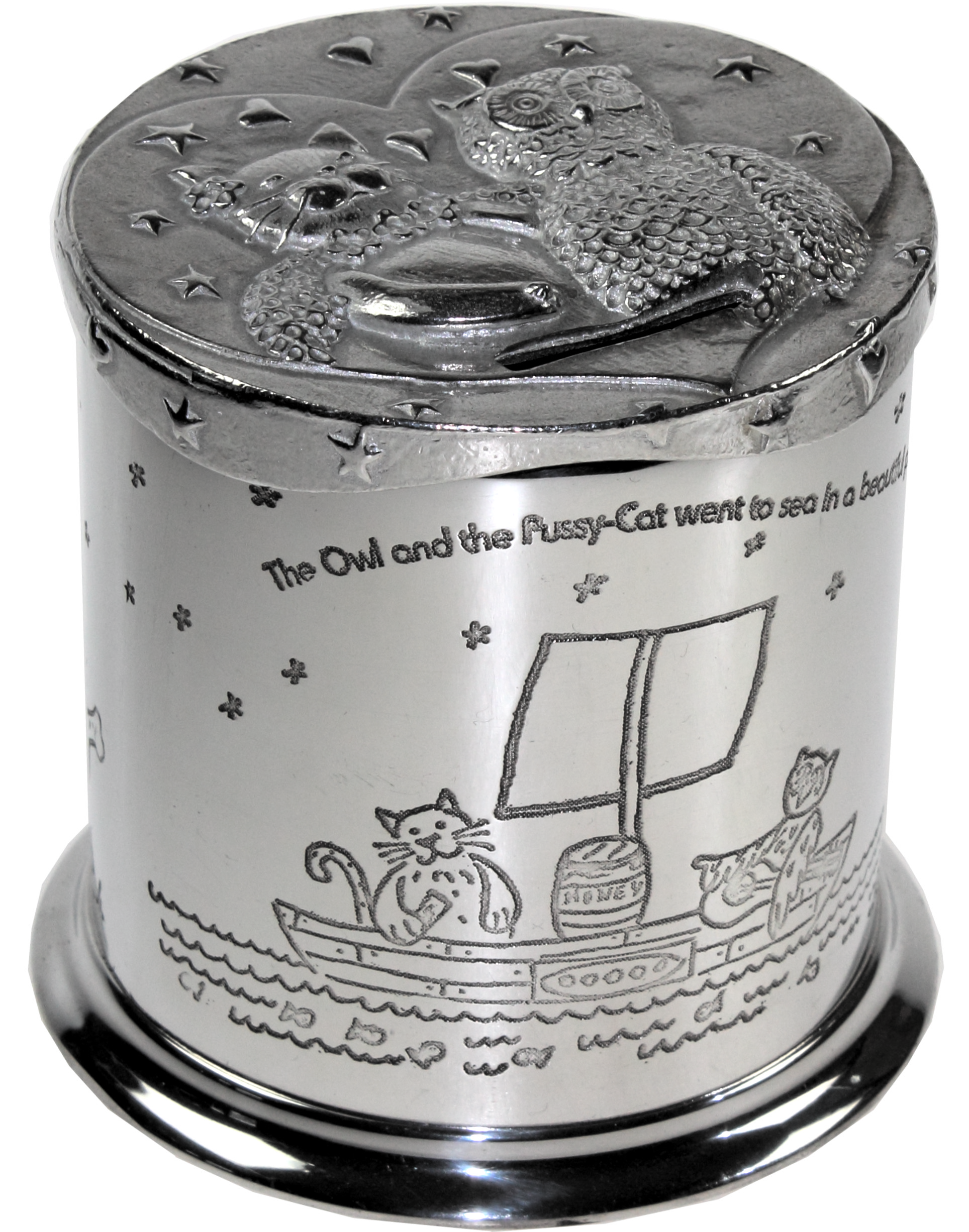 """The Owl and the Pussy Cat Nursery Rhyme Money Box 10cm (4"""")"""