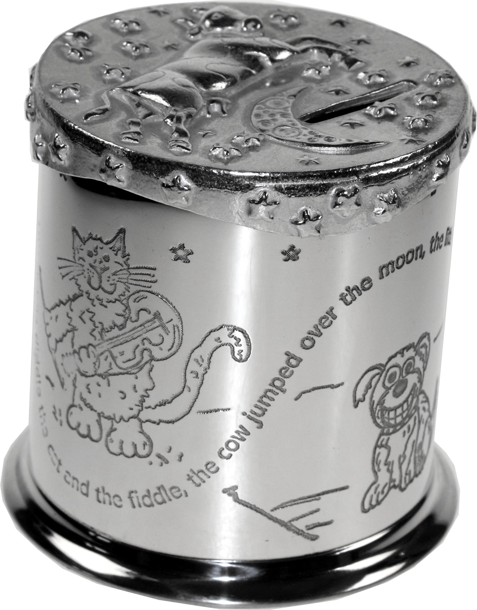 """Cow Jumps Over the Moon Nursery Rhyme Money Box 10cm (4"""")"""