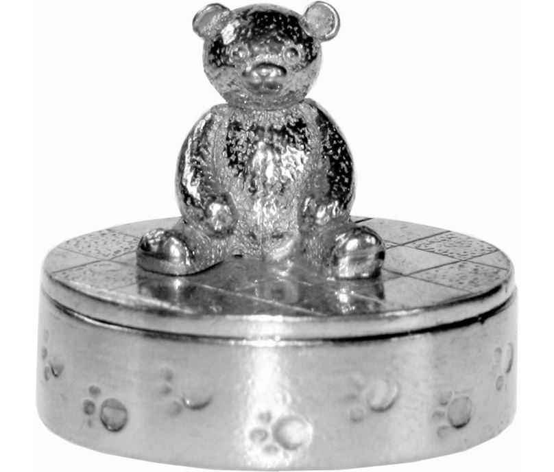 "Cast Oval Teddy Bear Trinket Box 12cm (4.75"")"
