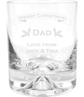"""Merry Christmas Dad Dimple Base Whisky Tumbler 9.5cm (3.75"""")"""
