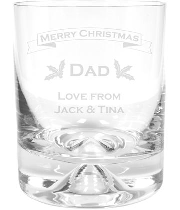 "Merry Christmas Dad Dimple Base Whisky Tumbler 9.5cm (3.75"")"