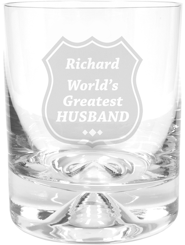 "World's Greatest Husband Dimple Base Whisky Tumbler 9.5cm (3.75"")"