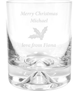 "Merry Christmas Holly Design Dimple Base Whisky Tumbler 9.5cm (3.75"")"