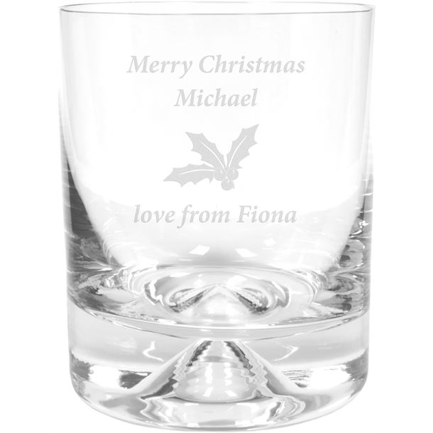 "Merry Christmas Holly Design Dimple Base Whisky Tumbler 9.5cm (3.75"")"