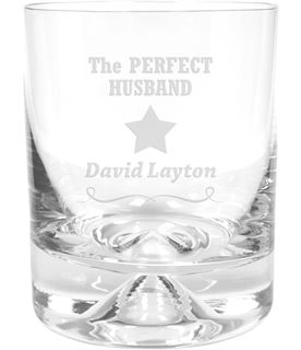 "Perfect Husband Star Design Dimple Base Whisky Tumbler 9.5cm (3.75"")"