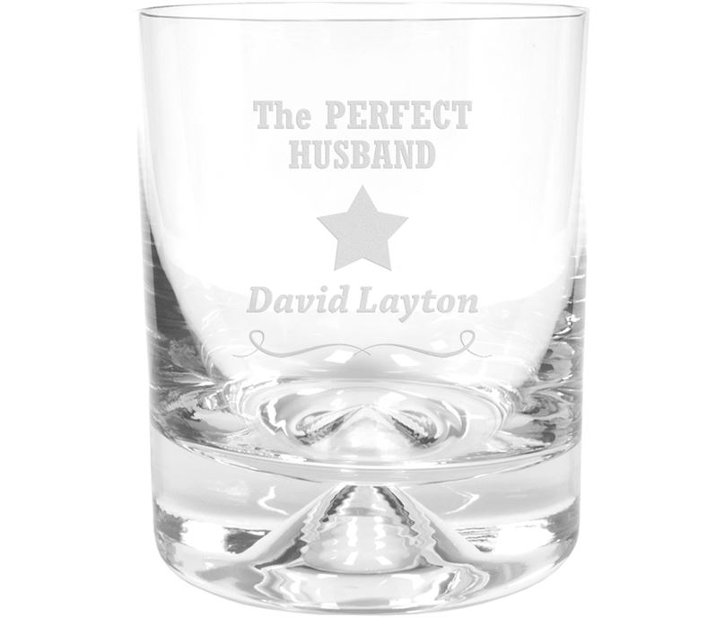"Perfect Husband Star Design Dimple Base Whisky Tumbler 9.5cm (3.75"")"