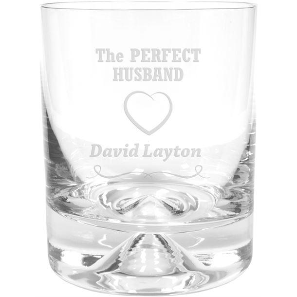 "Perfect Husband Heart Design Dimple Base Whisky Tumbler 9.5cm (3.75"")"