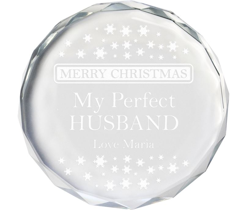 "Merry Christmas Perfect Husband Glass Crystal Paperweight 9cm (3.5"")"