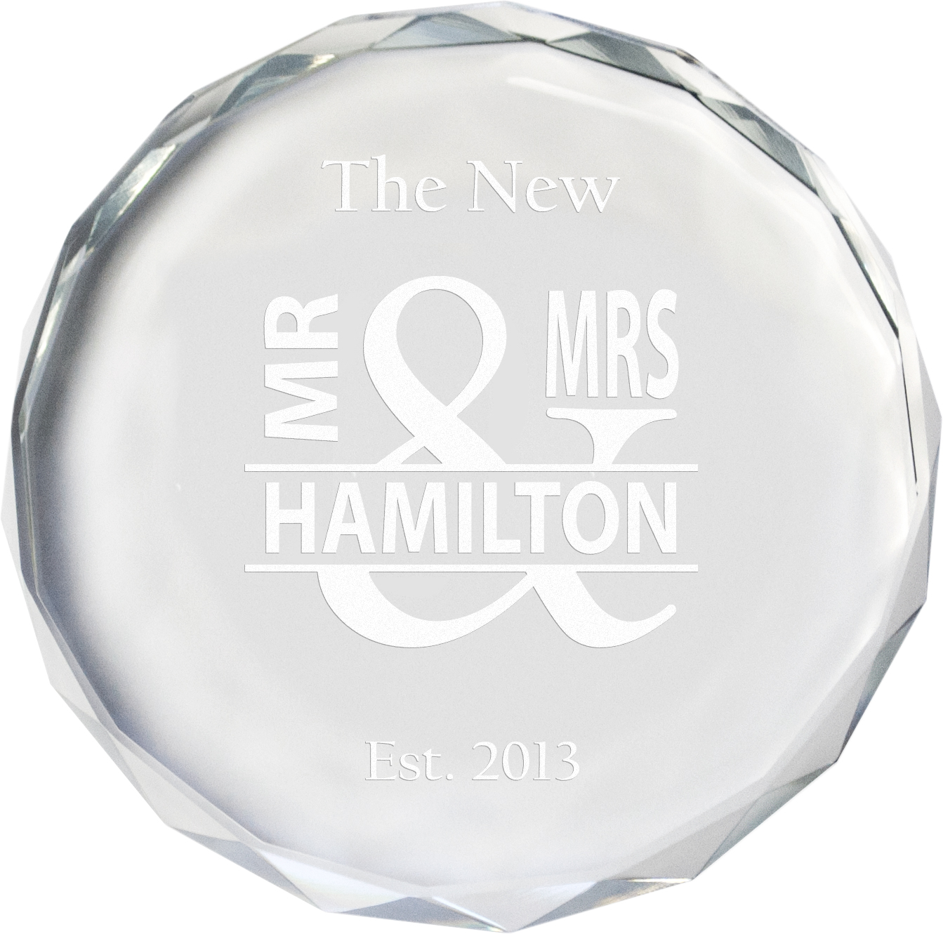 "The New Mr & Mrs Glass Crystal Paperweight 9cm (3.5"")"
