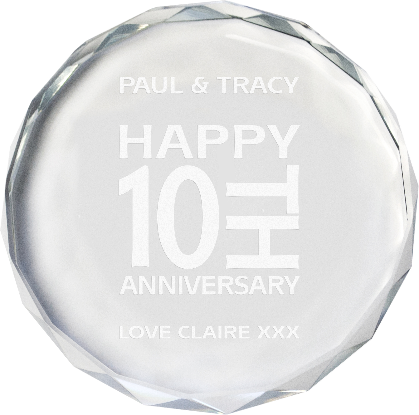 "Happy Anniversary Glass Crystal Paperweight 9cm (3.5"")"