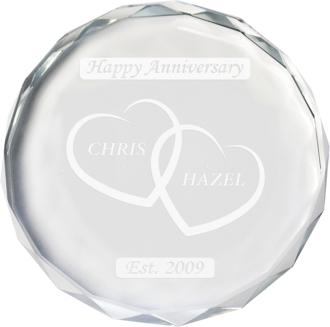 "Happy Anniversary Glass Crystal Paperweight - Heart Design 9cm (3.5"")"
