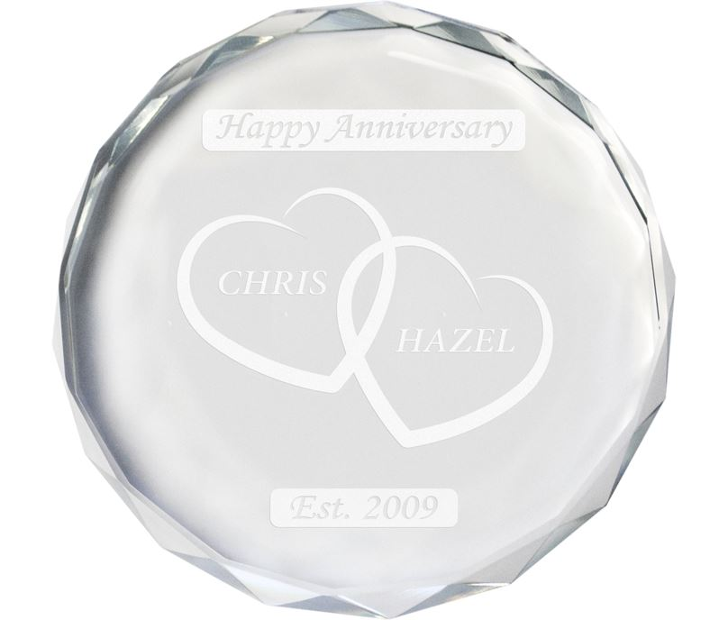 """Happy Anniversary Glass Crystal Paperweight - Heart Design 9cm (3.5"""")"""