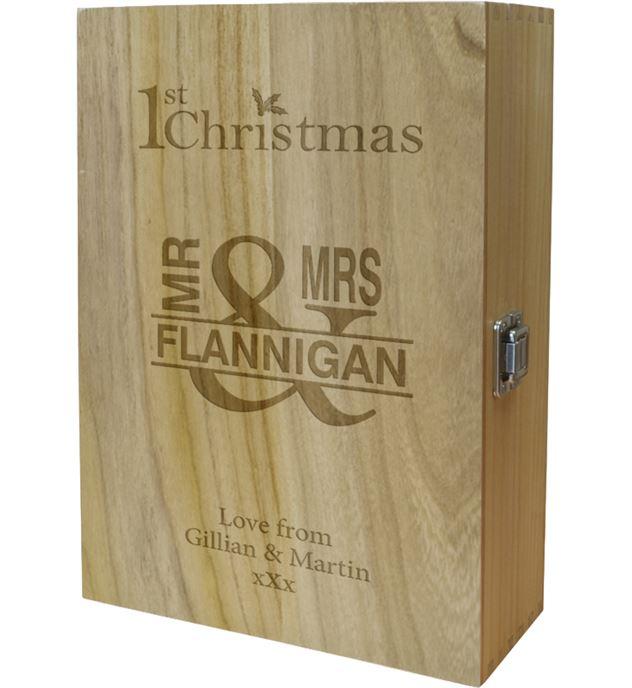 "Mr & Mrs 1st Christmas Double Wine Box 35cm (13.75"")"