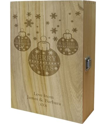 "Merry Christmas Double Wine Box - Bauble Design 35cm (13.75"")"