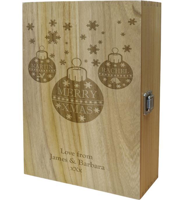 "Merry Christmas Double Wine Box - Bauble Design 35cm (13.75"")"
