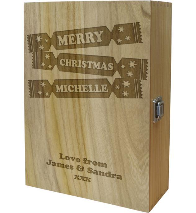 "Merry Christmas Double Wine Box - Cracker Design 35cm (13.75"")"