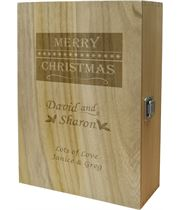 "Merry Christmas Double Wine Box - Holly & Snowflake Design 35cm (13.75"")"